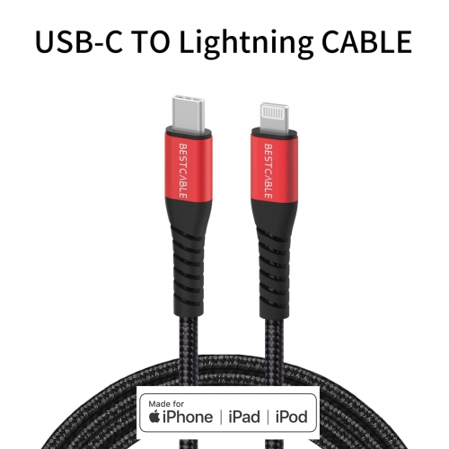 BEST CABLE USB Type C至Lightning Cable[官方MFi認證] Lightning至USB Type C iPhone快速充電線